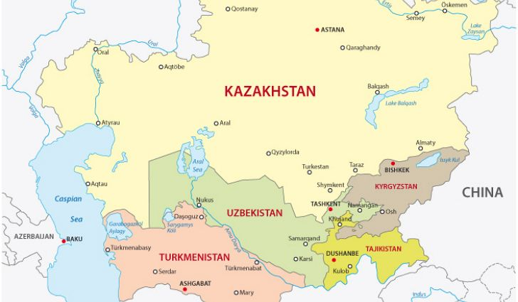 Political Map Of Central Asia.Turkey Islam And Central Asia Activities And Outcomes